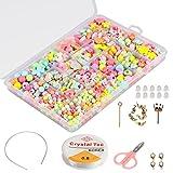 Set de cuentas de DIY para niños (500 piezas), Phogary DIY Pulseras de collares Cuentas en forma de corazones flores de mariposas para joyería Fabricación de cuentas para niños Collar de pulsera Kit