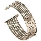 Wearlizer für Apple Watch Armband 42mm 44mm, Edelstahl Metall iWatch Straps Ersatzband Uhrenarmband Wristband Zubehör für Apple Watch Serie 4 / Serie 3 / Serie 2 / Serie 1 - Gold