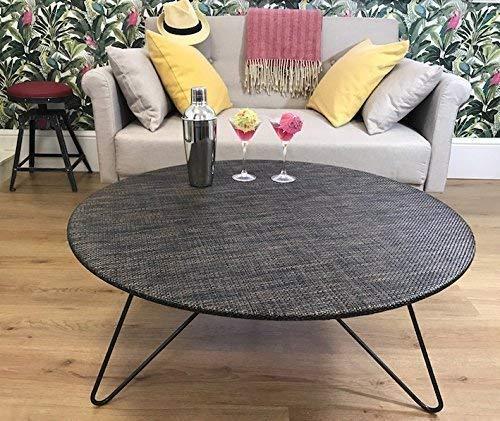 Grand circulaire bas table - cuivre et Brown rotin tissé - 90cm taille