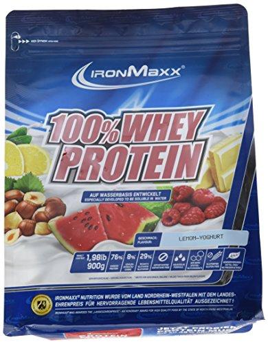 IronMaxx 100{b2d3cf0108e11222487fb347994cacb231f531834bb03cbb553d0f2bbd798d17} Whey Protein – Whey Eiweißshake auf Wasserbasis – Proteinpulver mit Lemon-Joghurt Geschmack – 1 x 900 g Beutel