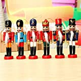 SSITG Husar 6pcs Wooden Nutcracker King Christmas Decorative Nut Cracker Figurines, Homemade Ornaments, Christmas Gift