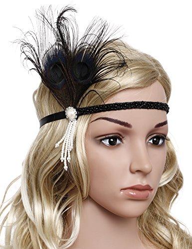 BABEYOND 1920s Stirnband Feder Flapper Stirnband mit Perlen Troddel 20er Jahre Haarband Große Gatsby Kostüm Accessoires Damen Retro Stirnband - 2