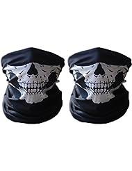 Totenkopf-Maske / Bandana / Schal, weiches Polyester, nahtlos, 2 Stück