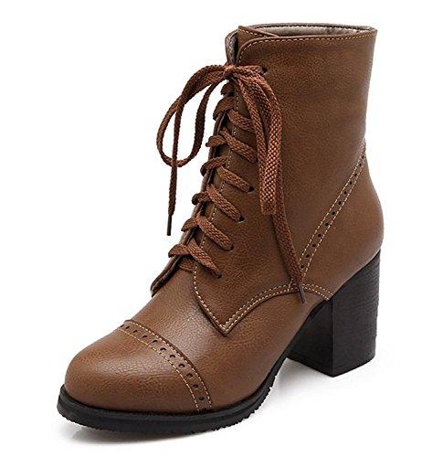 Boots Winter Damen Fashion Mit Herbst Stiefel Stiefeletten Braun Gürtelschnalle Absatz Kurzschaft FqzP8xwqp