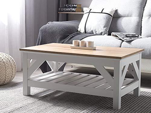 Beliani Couchtisch Landhausstil weiß/Heller Holzfarbton 100x60 cm Savannah