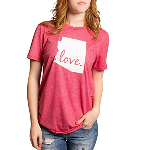 ubabamama Mädchen firendship Shirt Blusen, Valentinstag Love Letter Printed Short Sleeve T-Shirt Tops mehrfarbig rot m (Tunika Crochet Trim Baumwolle)