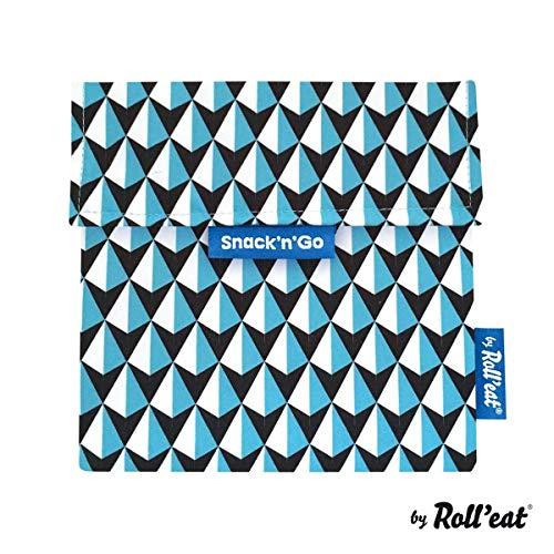 Roll'eat Snack'n'Go - Snackbeutel | wiederverwendbarer, ökologische Lunchbox, BPA frei, leicht zu reinigender Snackbag - Motiv: Tiles Dreiecke, Farbe: blau, 18 x 18cm