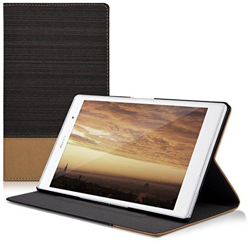 kwmobile 40053.73 Schutzhülle für Tablet mit Kartenschlitzen, Anthrazit, Braun – Schutzhülle für Tablet (Klapphülle, Sony, Xperia Tablet Z3 Compact, 179 g, Anthrazit, Braun)