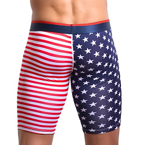 Gazechimp-Homme-Boxer-Long-Sexy-Caleon-Shorts-Collant-Rouge-Sous-vtement-Impression-Drapeau-Amricain