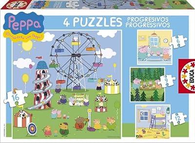 Educa-Borrás 15623 - Peppa Pig puzzles progresivos: 12-16-20-25 piezas de Educa-Borrás