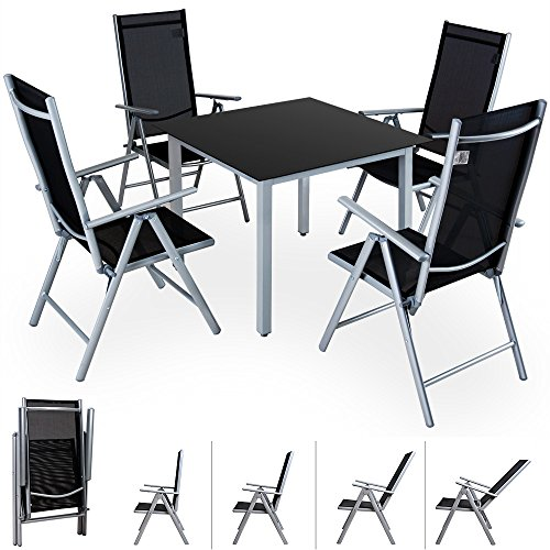 Deuba® Alu Sitzgruppe Sitzgarnitur Gartengarnitur Tischplatte aus Glas + klappbare und neigbare Stühle Modellauswahl