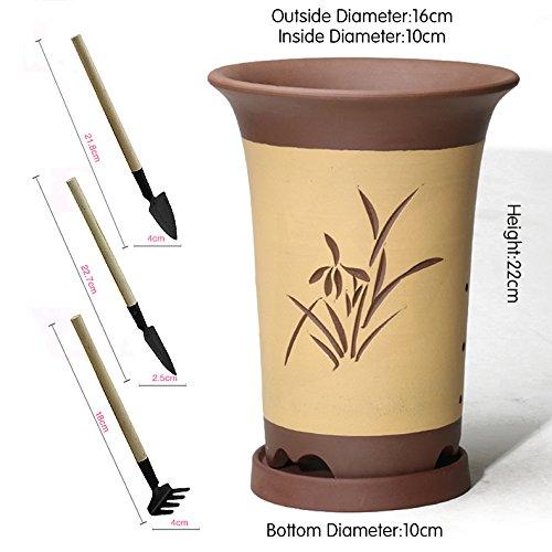 Nclon Argile pourpre Pot de fleur, Pot de fleur Pour Les orchidées Plante verte Charnu Avec Plateau] Avec Jardinage Outils Trois pièces-C les petites