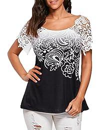 c5e0d0ceddc06 Xinantime Blusa de mujer Camisetas Mujer Verano Elegante Camisetas Mujer  Manga Corta Algodón Camisetas Sin Hombros Mujer