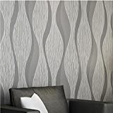 Wxl Modern minimalist striped wallpaper living room walkway TV background wall non-woven wallpaper (Color : Light grey)