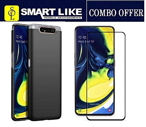 SmartLike 5D Tempered Glass + Silicon Back Cover for Samsung Galaxy A80 / A90