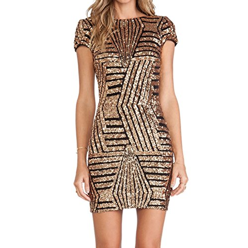 iBaste Bodycon Kleid Damen Pailletten Kleid Kurzarm Pencil Kleid elegant Minikleid Partykleid-GB-M