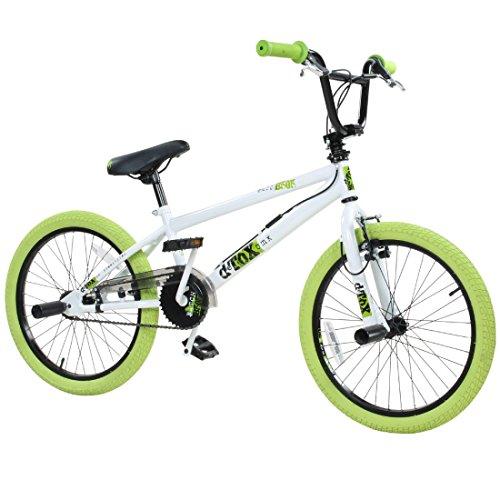 deTOX 20' BMX Freestyle Kinder Anfänger ab 130 cm, 7 J, Farbe:Weiss/grün