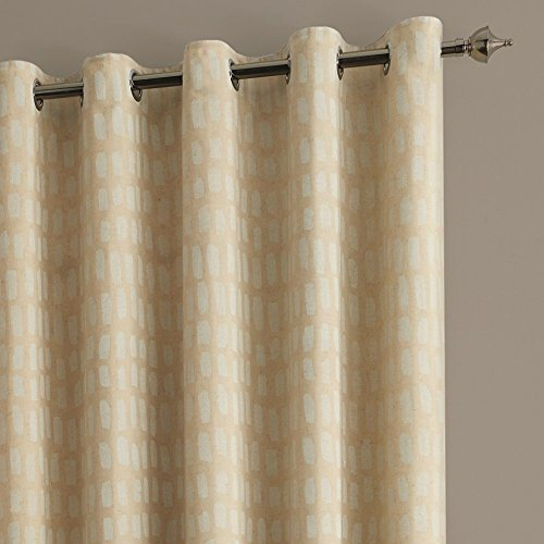 "Tony's Textiles Sahara Linen Natural Cream Fully Lined Eyelet Ring Top Curtains (90"" Wide x 90"" Drop)"
