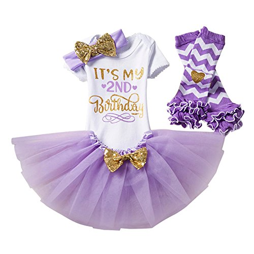 2 Geburtstag Partykleid Tüllkleid mit Stirnband Set Kleinkinder Baby Mädchen 1