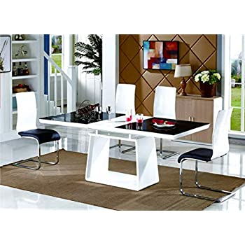 56612b10729c Renato Black and White Modern Stylish High Gloss Glass Large Extending Dining  Table 6 8 10 Seater (Dining Table Only)