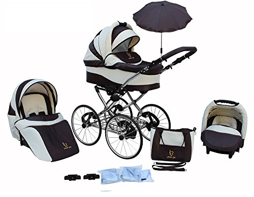 *Kinderwagen AmberLine Classica Retro_CREAM, 3 in 1- Set Wanne Buggy Babyschale*