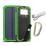 15000 mAh Dual USB caricatore solare portatile Backup Power Bank Pannello Solare Impermeabile Antiurto caricatore con LED luce di emergenza per iPhone, Samsung, HTC e altri smartphone(Verde)