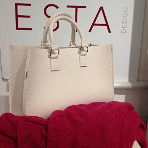 ESTA-Design, Borsa tote donna nero 44 cm x 30 cm x 18 cm GH 46 cm woll weiss