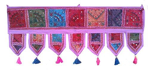 Rastogi artigianali Toran specchio etnico Window Valance Home Decor vintage embroidered patchwork Door Hanging Purple