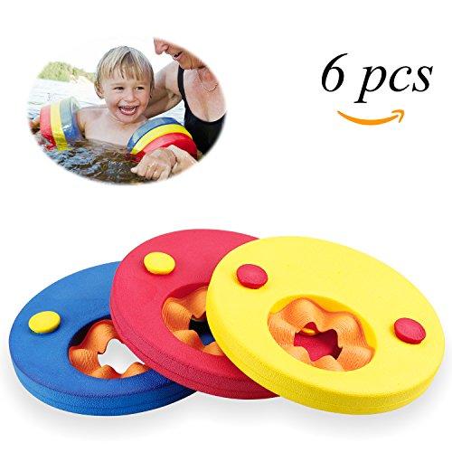 Mopalwin Schwimmscheiben, Schwimmflügel Kinder Schwimmhilfe Armbinden Schwimmer Discs Schaum Schwimmen Armbands (6 Scheiben)