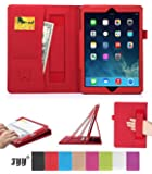iPad Air Case, iPad Air Cover, Fyy® [Luxurious Protection] Premium PU Leather Case Smart Auto Wake/Sleep Cover with Velcro Hand Strap, Card Slots, Pocket for iPad Air Red