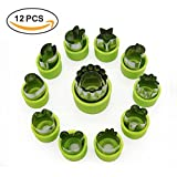 Vegetable Cutter Shapes Set Mini Pie Fruit and Cookie Stamps Mold Cookie Cutter Decorative Food Kids Baking Tools Accessories Crafts 12 Pcs