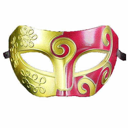 ONE-K Mask Spitze Halloween Ball Maske Half Face Flat Head Herren Maske Party Event Make-up Maske, Gold Rot