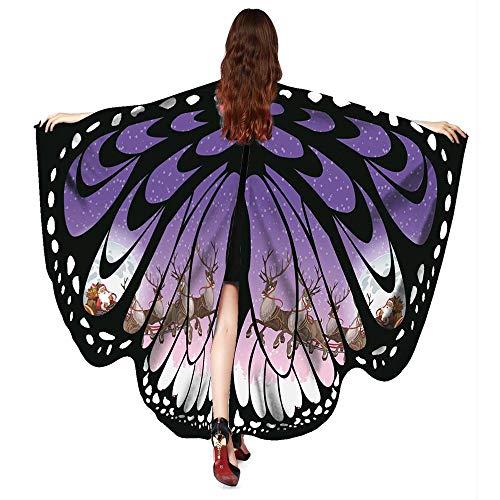 Kostüm Übergröße Sexy Teufel - WOZOW Damen Schmetterling Flügel Kostüm Nymphe Pixie Schals Poncho Umhang Faschingkostüme Kostümzubehör Zubehör (lila weiß)