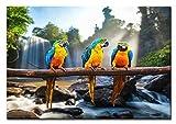 BILDERFABRIK – Wandbild Papageien 80 x 120 cm als XXL Kunstdruck auf Leinwand und Holzkeilrahmen I Moderne Drucktechnik für ein detailreiches Erlebnis I Beste Qualität – Handgefertigt in Deutschland!