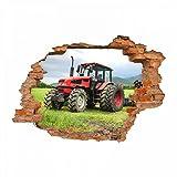 nikima Schönes für Kinder 047 Wandtattoo Traktor - Loch in der Wand Trecker auf Wiese - in 6 Größen - Kinderzimmer Stic Junge Mädchen -ker Aufkleber Wanddeko Wandbild Größe 1250 x 870 mm