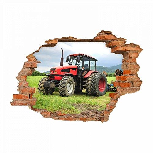 nikima - 047 Wandtattoo Traktor - Loch in der Wand Trecker auf Wiese Kinderzimmer - in 6 Größen - wunderschöne Kinderzimmer Sticker und Aufkleber angesagte Wanddeko Wandbild Junge Mädchen Größe 500 x 350 mm