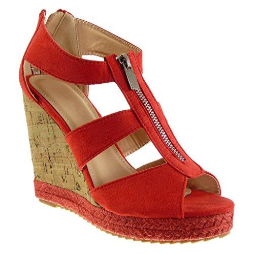 Angkorly Scarpe Da Donna Sandali Espadrillas - Zeppe - Corda - Sughero - String Tacco A Spillo Tacco Alto 11 Cm Rosso