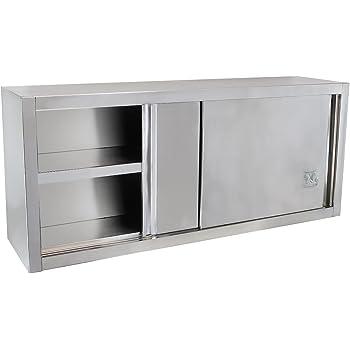 Beeketal 'BWS140' Gastro Küchen Wandhängeschrank aus Edelstahl mit auf Rollen gelagerte Schiebetüren, Hängeschrank mit Rolltüren und fest verbautem Einlegeboden - (L/B/H): ca. 1400 x 400 x 650 mm