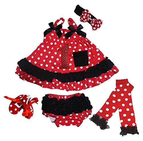 petitebelle 1st Dots rot Top Rüschen Bloomer Set mit Beinwärmer Schuhe nb-24m Gr. M, rot -