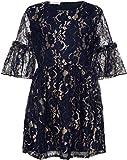NAME IT Mädchen Fest-Kleid Spitze mit Goldglitter NKFRALUT, Größe:152, Farbe:Dark Sapphire