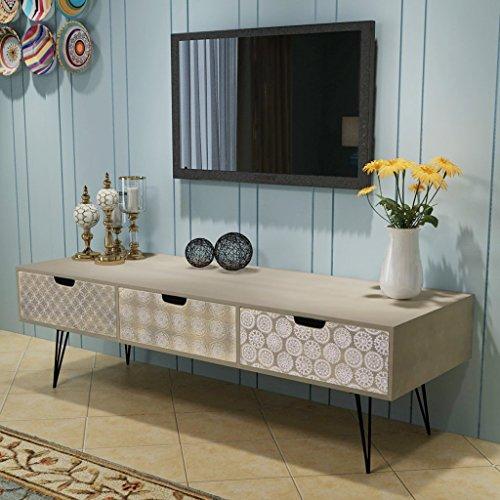 Festnight Meuble TV Table Basse en Bois avec 3 Tiroirs Scandinave Design