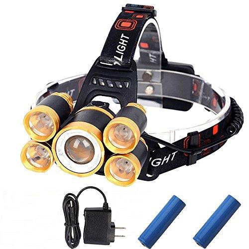 Yiwa T6 + 4 * XPE LED-Kopflicht Wasserdichte 18650 wiederaufladbare Kopffackel für Outdoor-Sport Zoomable 5 LED-Scheinwerfer-Taschenlampe 4 Modi