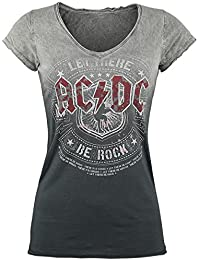 AC/DC Let There Be Rock Camiseta Mujer gris/gris oscuro