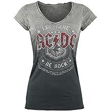 AC/DC Let There Be Rock Girl-Shirt grau/dunkelgrau