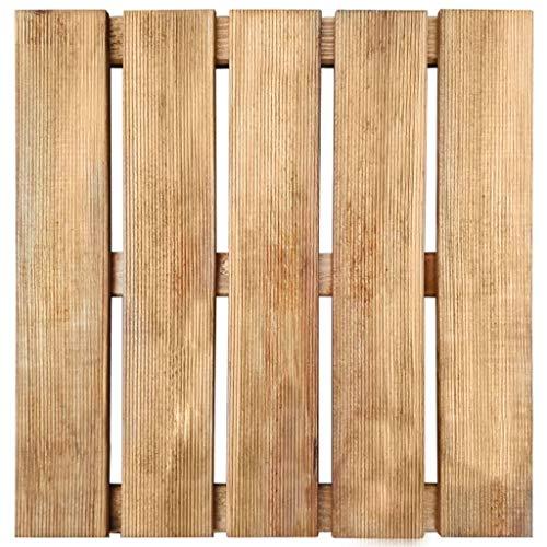 mewmewcat Set di 6 Piastrelle per Decking per Giardino e Terrazza, Legno,Piastrelle per Decking,50 x 50 x 3,2 cm