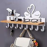 CKH Swan Nail-free Key Hook Hanger Coat Hook Wall Hanging Clothes Wall Free Punch Wall Hanging Rack White