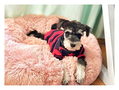 Warme Fleece Hundebett Runde Pet Lounger Kissen For Kleine, Mittelgroße Hunde Katze Winter Hundehütte Puppy Mat Pet Bed (Color : Pink, Size : 50cm) -