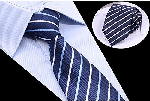 GENTLEE TIE Der Black Tie Männer Anzüge von Blue Stripe Männer krawatte Bräutigam Hochzeit lila Stickmuster 8 CM, blau (Herren Anzug Wolle Stripe)