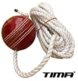 Tima Leather Cricket Shot Practice Hanging Ball, String White Color