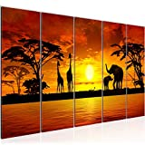 Bilder Afrika Sonnenuntergang Wandbild 150 x 60 cm Vlies - Leinwand Bild XXL Format Wandbilder Wohnzimmer Wohnung Deko Kunstdrucke Orang 5 Teilig - MADE IN GERMANY - Fertig zum Aufhängen 000256a